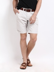 John Players Men Grey & White Striped Shorts