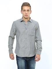 John Players Men Grey & Yellow Striped Trim Fit Casual Shirt