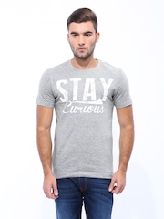 John Players Men Grey Melange Printed T-shirt