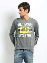 John Players Men Grey Printed Sweatshirt