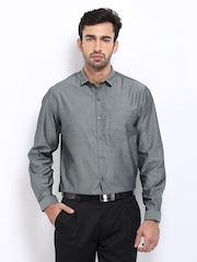 John Players Men Grey Slim Fit Semi-Formal Shirt