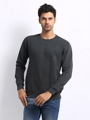 John Players Men Charcoal Grey Sweatshirt