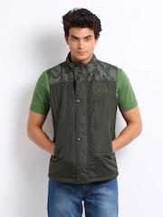 John Players Men Green Reversible Sleeveless Jacket