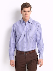 John Players Men Lavender & Grey Striped Trim Fit Casual Shirt