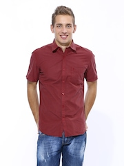 John Players Men Maroon & Black Checked Trim Fit Casual Shirt