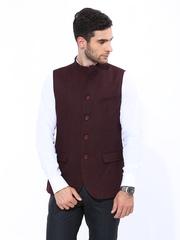 John Players Men Maroon Slim Fit Nehru Jacket