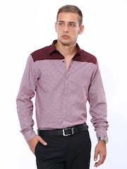John Players Men Maroon Slim Fit Casual Shirt