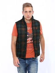 John Players Men Multicoloured Padded Sleeveless Jacket