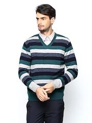 John Players Men Multicoloured Striped Wool Blend Sweater
