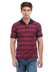John Players Men Navy & Red Striped Polo T-Shirt