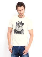 John Players Men Off-White Printed T-shirt