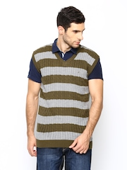 John Players Men Olive Green & Grey Wool Blend Sleeveless Sweater