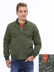 John Players Men Olive Green Reversible Jacket