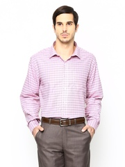 John Players Men Pink Checked Formal Shirt