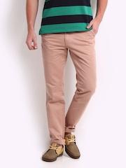 John Players Men Pink Slim Fit Trousers