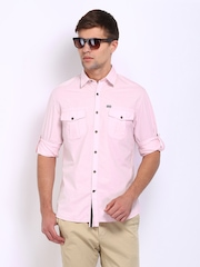 John Players Men Pink Trim Fit Casual Shirt