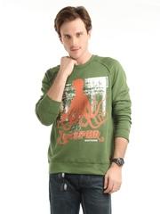 John Players Men Olive Printed Sweatshirt