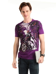 John Players Men Purple T-shirt
