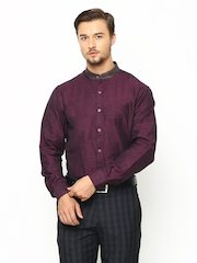 John Players Men Purple Linen Slim Fit Casual Shirt