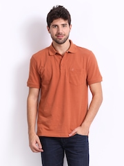 John Players Men Rust Orange Pique Polo T-shirt