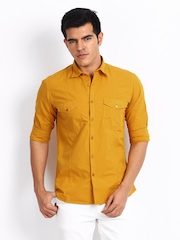 John Players Men Mustard Yellow Trim Fit Casual Shirt