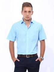 John Players Men Blue & White Gingham Checked Formal Shirt