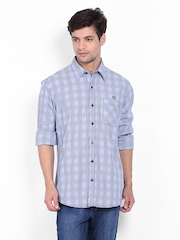 John Players Men Blue & White Checked Casual Shirt