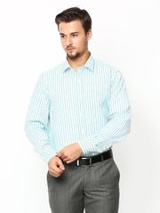 John Players Men White & Green Striped Formal Shirt