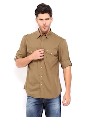 John Players Men Brown Trim Fit Casual Shirt