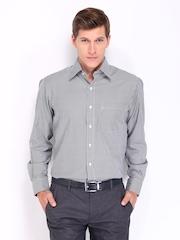 John Players Men Black & White Striped Formal Shirt