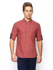 John Players Men Red Linen Blend Trim Fit Casual Shirt