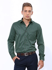 John Players Men Green & Black Checked Slim Fit Formal Shirt