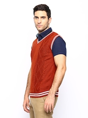John Players Men Rust Orange Wool Blend Sleeveless Sweater