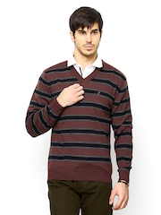 John Players Men Burgundy Striped Wool Blend Sweater