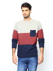 John Players Men Multicoloured Striped Sweater