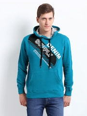 John Players Men Blue Hooded Printed Sweatshirt