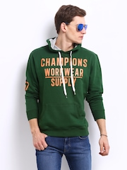 John Players Men Green Hooded Printed Sweatshirt