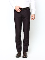 John Players Men Burgundy Slim Fit Formal Trousers