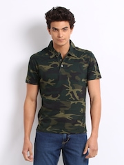 John Players Men Green Camouflage Print Polo T-shirt