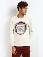 John Players Men Off-White Printed T-shirt