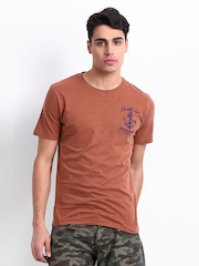 John Players Men Rust Brown T-shirt