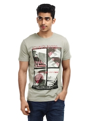 John Players Men Grey Printed T-Shirt