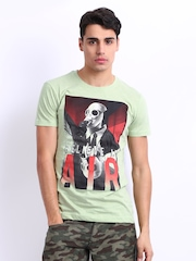 John Players Men Light Green Printed T-shirt