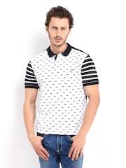 John Players Men White & Black Printed Polo T-shirt