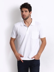 John Players Men White Pique Polo T-shirt