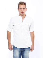 John Players Men White Trim Fit Casual Shirt