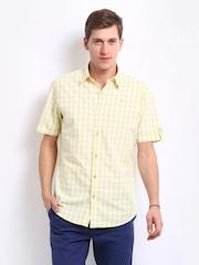 John Players Men Yellow & White Checked Fluoropop Trim Fit Casual Shirt
