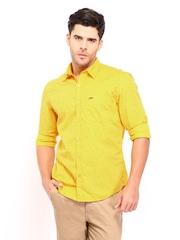 John Players Men Yellow Trim Fit Printed Casual Shirt
