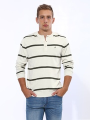 John Players Off-White Striped Sweater