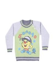 Jones Kids Green & Grey Embroidered Sweater